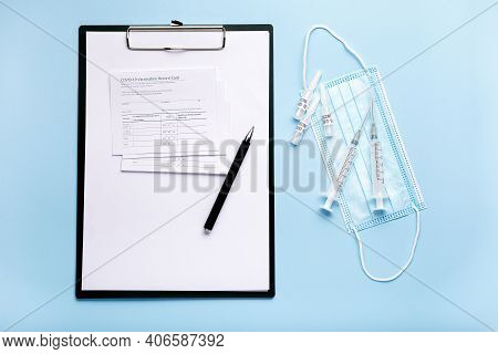 Vaccination Record Card, Covid-19 Vaccine Medical Background Top View. Vaccination, Immunization, Tr