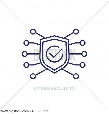 Cyber Security Line Icon With Shield And Checkmark