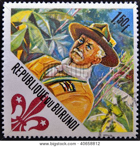 A stamp printed in Burundi dedicated to boy scouts shows Lord Baden-Powell (founder) circa 1967