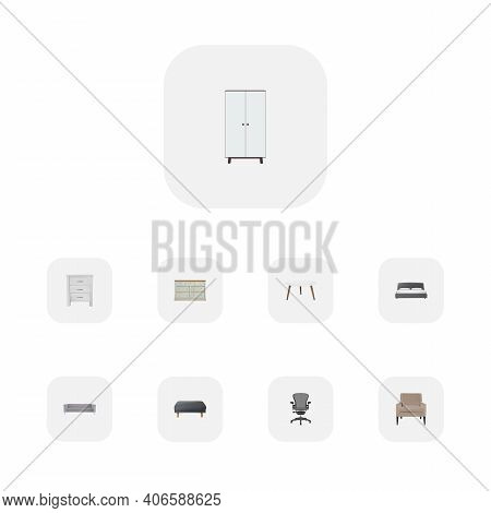 Set Of Furniture Realistic Symbols With Cupboard, Office Chair, Armchair And Other Icons For Your We