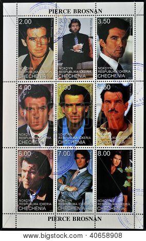 CHECHNYA - CIRCA 1999: Collection stamps printed in Chechnya shows Pierce Brosnan circa 1999