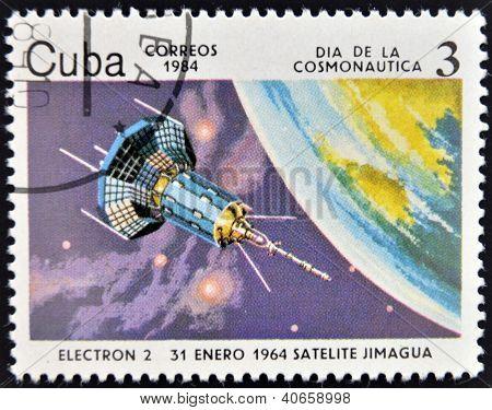 CUBA - CIRCA 1984: A stamp printed in Cuba shows a space ship Satilite Electron II circa 1984.
