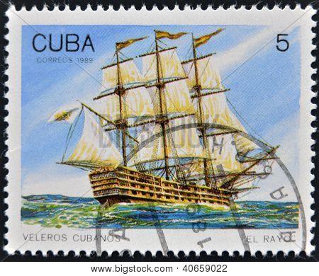 CUBA - CIRCA 1989: A Stamp printed in Cuba shows image of Cubans sailing El Rayo circa 1989