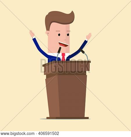 Businessman Or Politician In Suit At Tribune With Microphones Making A Speech. Orator Or Narrator, S