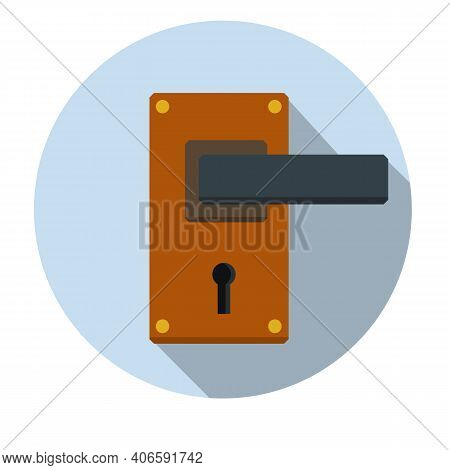 Door Handle. Doorway And Entrance Element. Lock And Keyhole. Opening And Closing. Cartoon Flat Icon