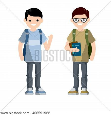 Conversation Between Two Students With Backpack And Books. Study In College And University Students.