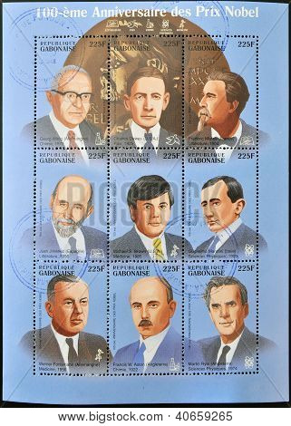 GABON - CIRCA 1985: Collection stamps dedicated to 100 anniversary of the Nobel prizes circa 1985