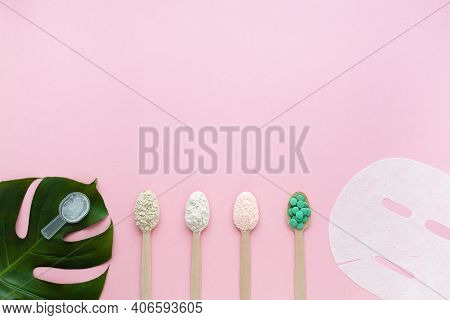 Natural Collagen Gel, Powder With Different Flavors, Tablets, Mask On Pink Background. Active Food A