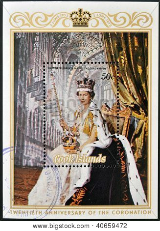 A stamp printed in Cook Islands shows portrait of Queen Elizabeth II (coronation) circa 1975
