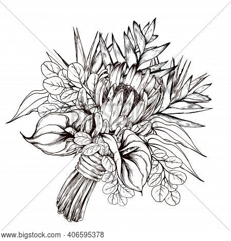 Tropical Bouquet With Strelitzia, Protea And Flamingo Flowers. Black And White Wedding Composition.