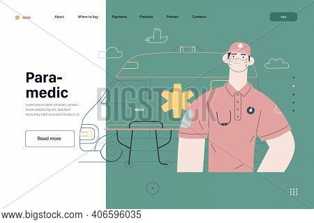 Medical Insurance Template -ambulance Transport And Emergency Evacuation -modern Flat Vector Concept