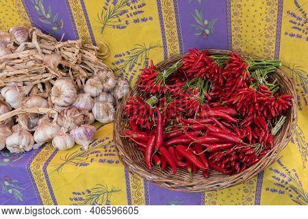 Bern, Switzerland - August 9, 2019 - Bern Market And Spices In Baskets