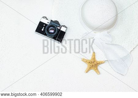 The Vacation Layout . Vacation Layout On A White Background. A Sun Hat. Protective Equipment. Copy S