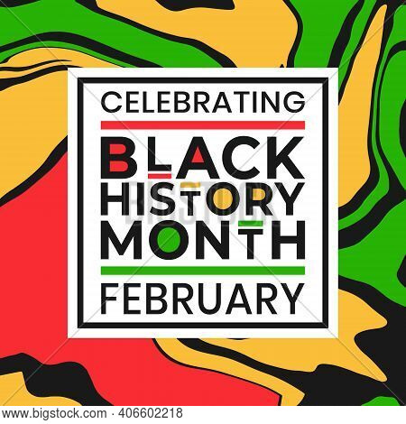 Celebrating Black History Month February Banner With Colorful Liquid Paint Effect Background. Vector