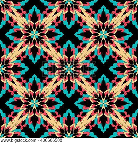 Ikat Geometric Folklore Ornament. Tribal Ethnic Vector Texture. Seamless Striped Pattern In Aztec St