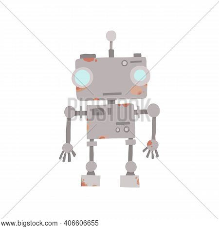 Retro Vintage Funny Vector Robot Icon In Flat Style Isolated On Grey Background. Vector Vintage Illu