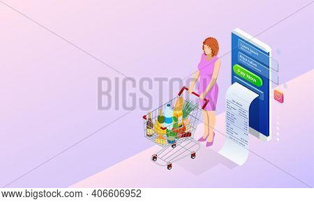 Isometric Grocery Store, Online Market, Home Delivery. Grocery Shopping Online. Buying Fresh Vegetab