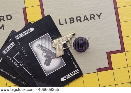 London, Uk - January 28th 2020: Cluedo Murder Mystery Boardgame Pieces Made By Waddingtons