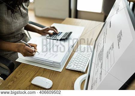 African American Business Advisor And Accountant In Office