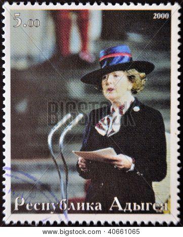 ABKHAZIA - CIRCA 2000 : Stamp printed in Abkhazia showsportrait Margaret Hilda Thatcher Iron Lady ci