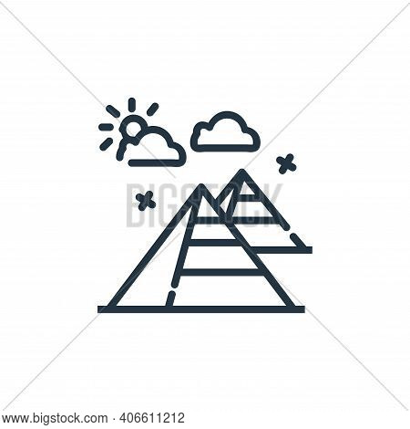 pyramid icon isolated on white background from world monument collection. pyramid icon thin line out