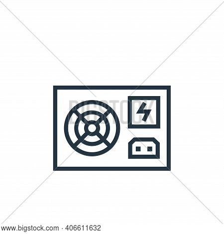 power supply icon isolated on white background from hardware collection. power supply icon thin line