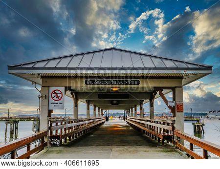 St. Simons, Georgia - January 11, 2021 : St Simons Island, Georgia Is The Most Family Friendly Of Al