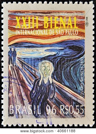 A stamp printed in Brazil shows 23 International Biennial of Sao Paulo The Scream by Edvard Munch