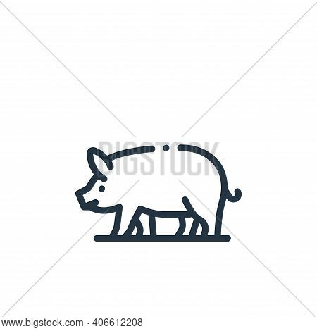 pig icon isolated on white background from in the village collection. pig icon thin line outline lin