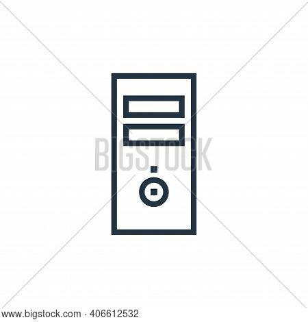 pc tower icon isolated on white background from hardware collection. pc tower icon thin line outline