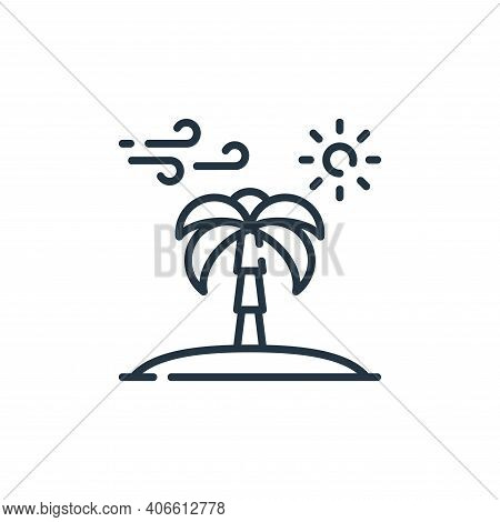 palm tree icon isolated on white background from desert collection. palm tree icon thin line outline