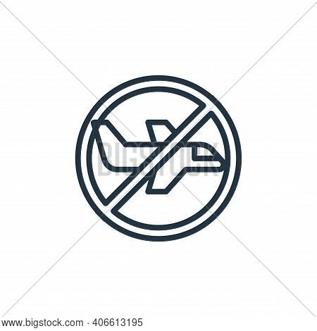 no flight icon isolated on white background from pandemic collection. no flight icon thin line outli