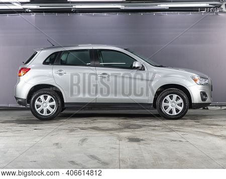 Novosibirsk, Russia - February 03 2021: Mitsubishi Asx, Side View. A Modern Car Suv  On A Parking In