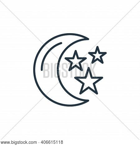 moon and stars icon isolated on white background from space collection. moon and stars icon thin lin