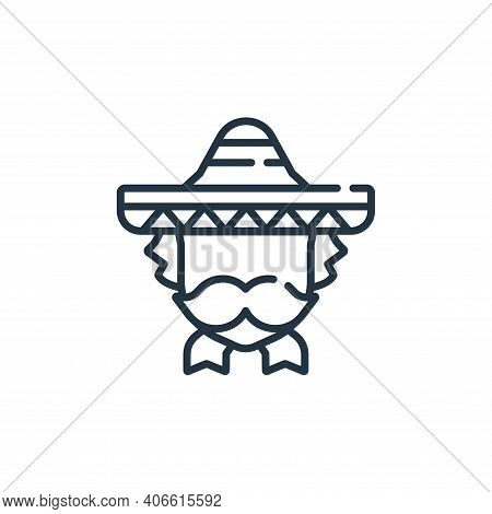 mexican man icon isolated on white background from mexico collection. mexican man icon thin line out