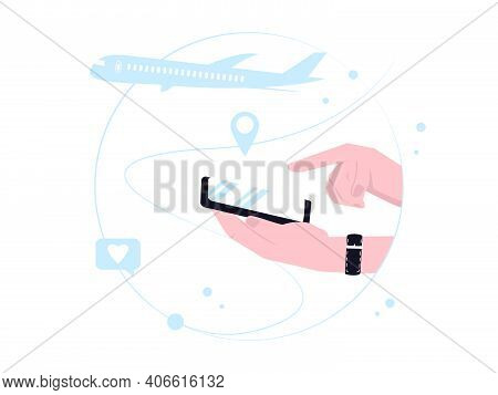 Hand Holding Cell Phone And Searching For Destination Location. Go On Vacation. Flat Style Vector Il