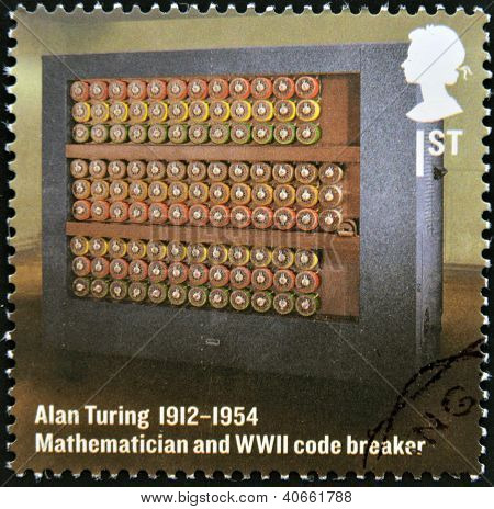 A stamp printed in Great Britain shows mathematician and WWII code breaker Alan Turing