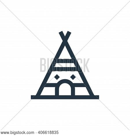 indian tent icon isolated on white background from history collection. indian tent icon thin line ou