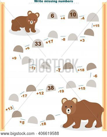 Math Educational Games For Children. Fill In The Line, Fill In The Missing Numbers. Math Activity Fo