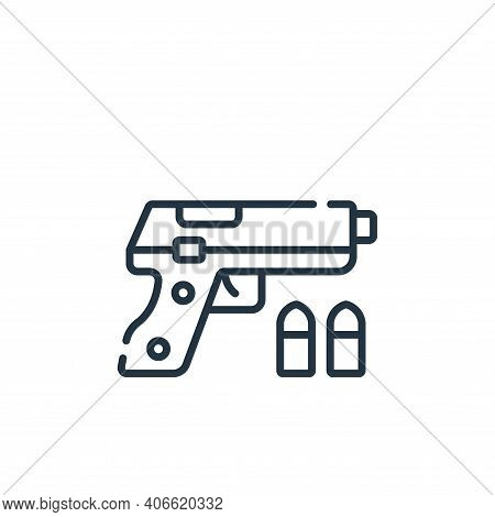 gun icon isolated on white background from videogame collection. gun icon thin line outline linear g