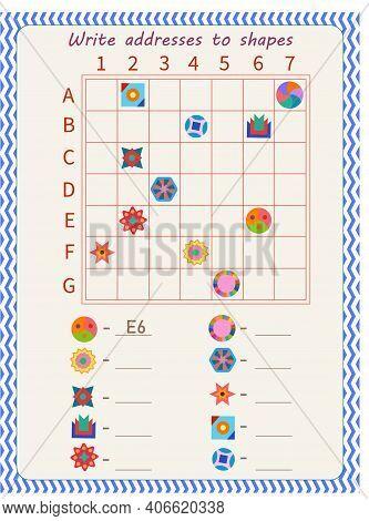 Logic Game For Children. Arrange Addresses Of Shapes. Vector Illustration