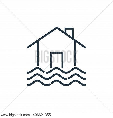 flooded house icon isolated on white background from insurance collection. flooded house icon thin l