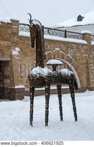Kazan, Russia - January 10 2021: Sculpture -koni-country- On Bauman Street. Winter, Snowfall. Sculpt