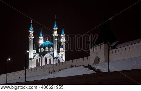 Kul Sharif Mosque In The Kazan Kremlin. Night Photo. The Mosque Is Brightly Illuminated By Spotlight