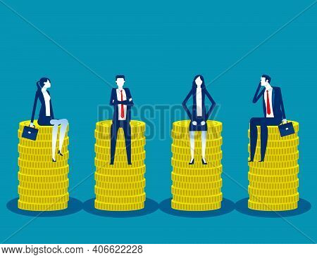 Business Team Sitting On Coin Piles. Universal Basic Income