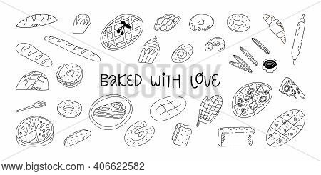 Big Doodle Bakery And Pastry Set. Various Traditional American, Italian, Belgian, German, Spanish Ba