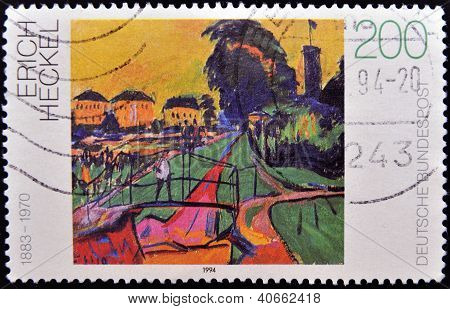 GERMANY - CIRCA 1994: A stamp printed in Germany shows Landscape by Erich Heckel circa 1994