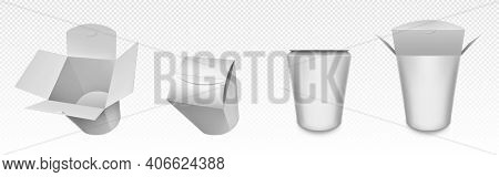 Empty White Wok Box, Paper Packaging For Chinese Food, Noodle Or Rice With Chicken. Vector Realistic