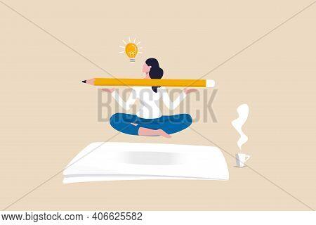 Writer Inspiration, Blogger, Copywriter Or Journalist Creativity Concept, Young Woman Writer Meditat