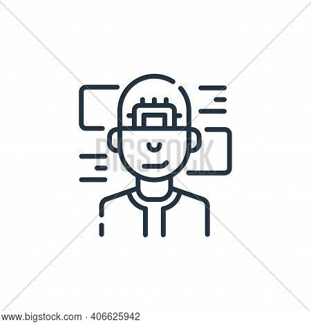 cyborg icon isolated on white background from robotics collection. cyborg icon thin line outline lin